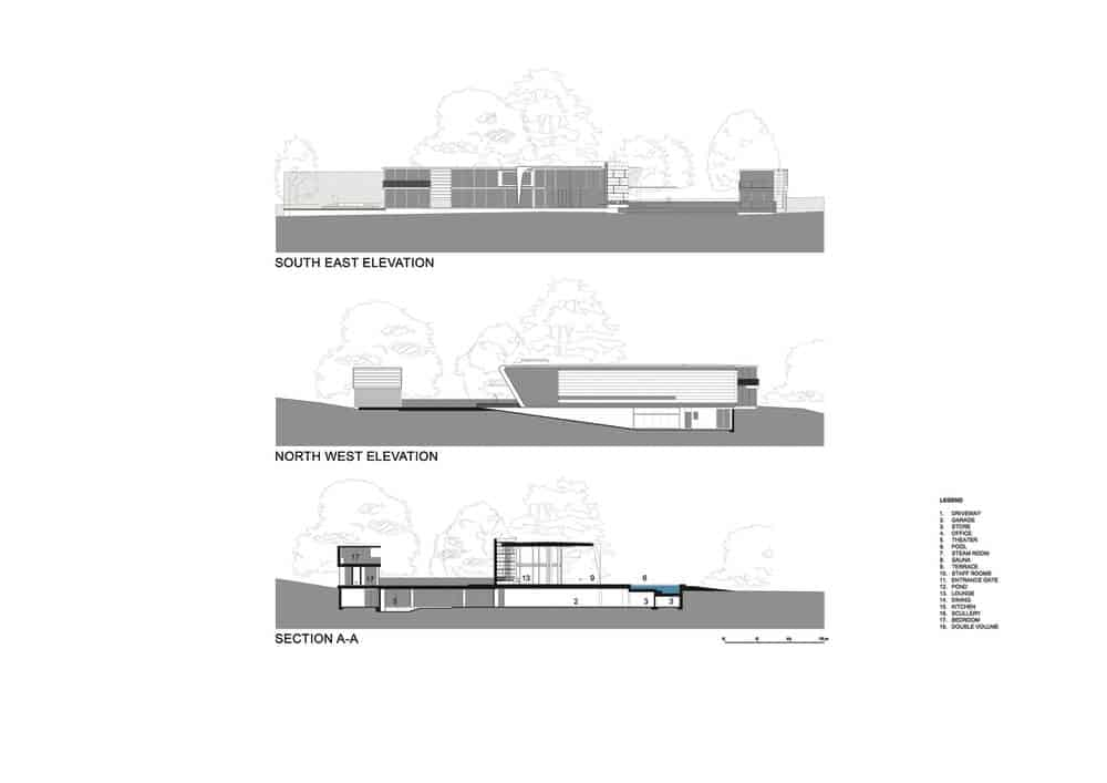 Southeast and northwest elevations along with section A-A sketch of the Lake House designed by ARRCC.