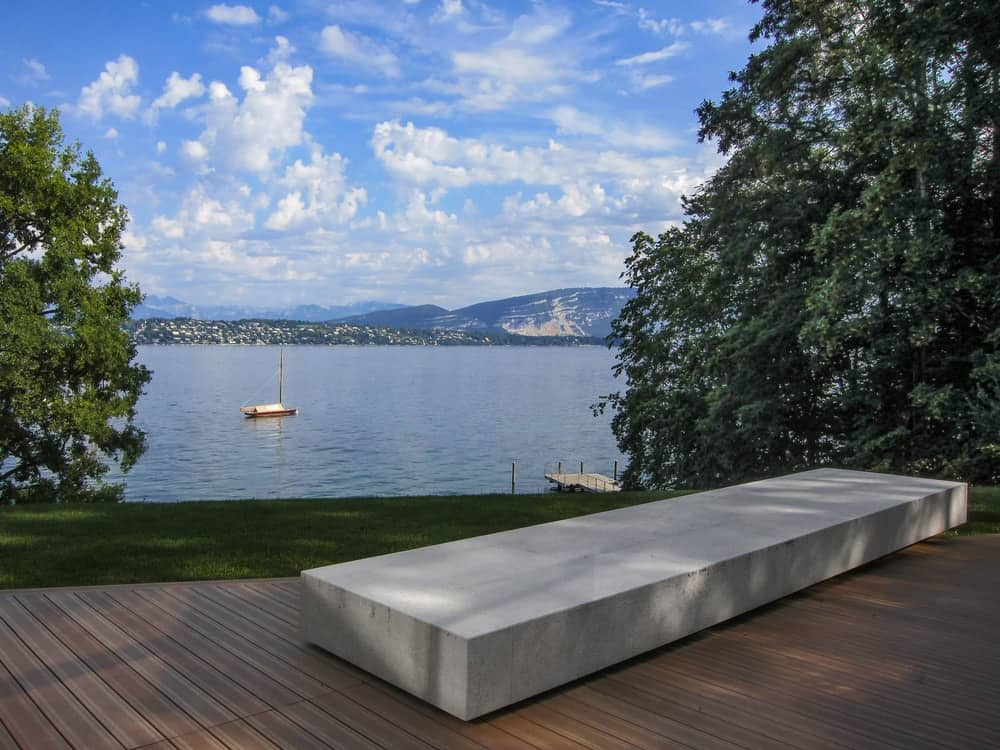 Pool deck with stunning view in the Lake House designed by ARRCC.