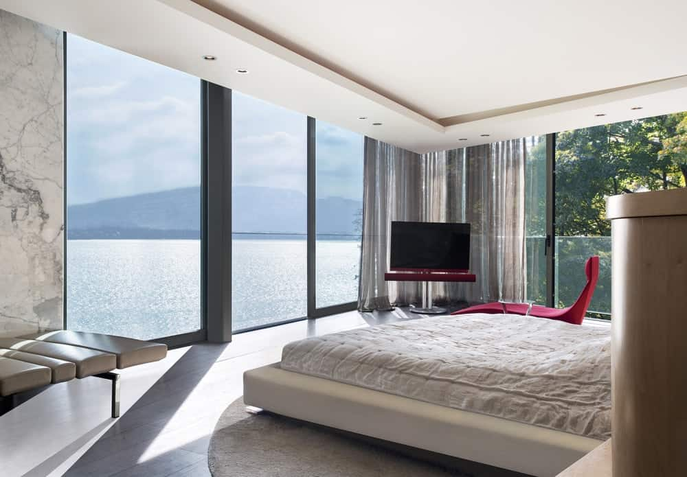Primary bedroom in the Lake House designed by ARRCC.