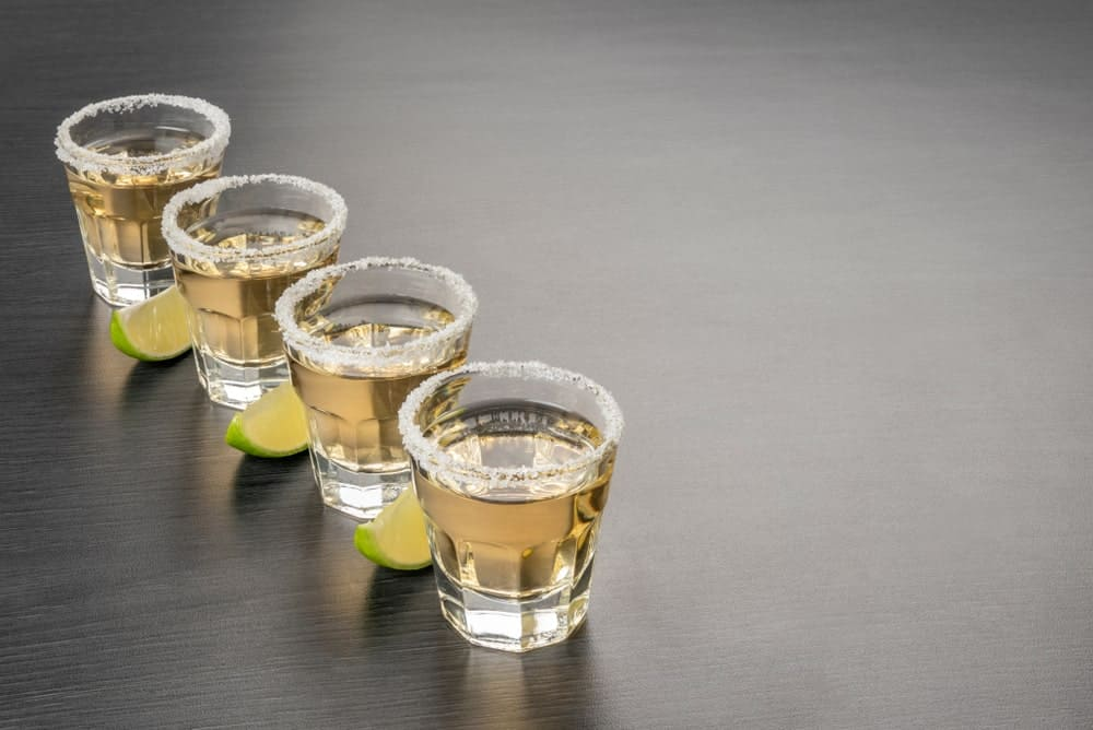 Shots of aged Tequila