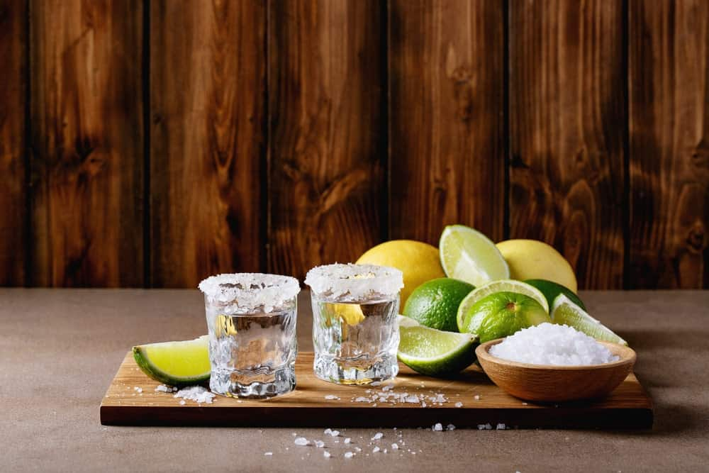 Serving tequila for drinking.
