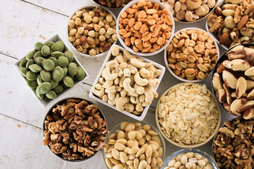 Table with many different types of nuts