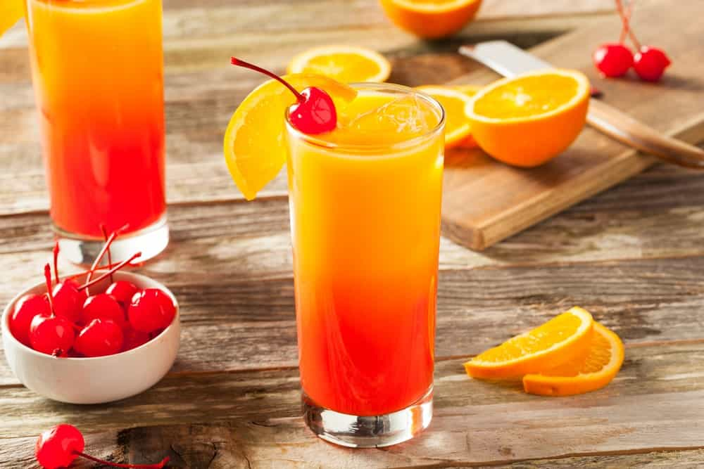 Colorful Tequila Sunrise drink.