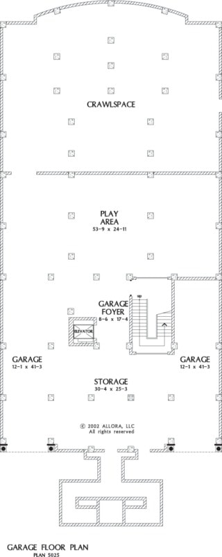 Basement floor plan with a crawlspace, play area, foyer, and spacious garage.