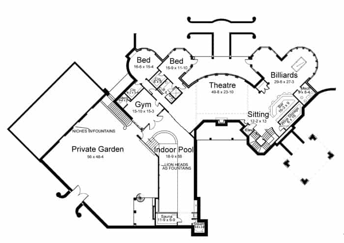 Basement floor plan with a theater, wine cellar, a bar, game room, indoor pool, gym, private garden, and two more beds.
