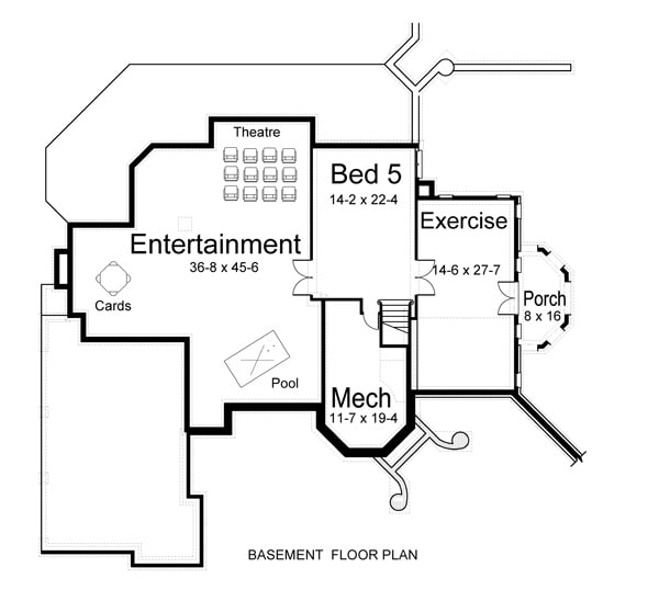 Basement floor plan with another bedroom, exercise room with access to the porch, and a large entertainment room complete with theatre, games, and a pool area.