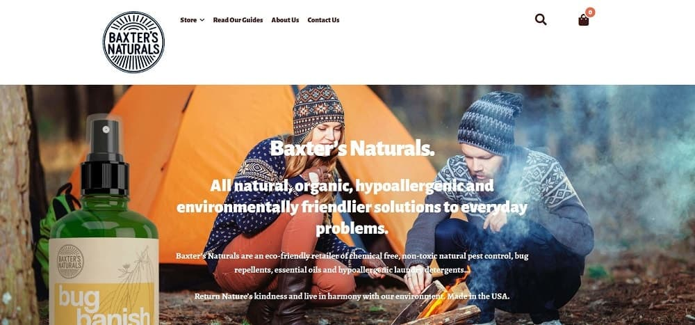 Screenshot of the Baxter's Naturals Online Store homepage.