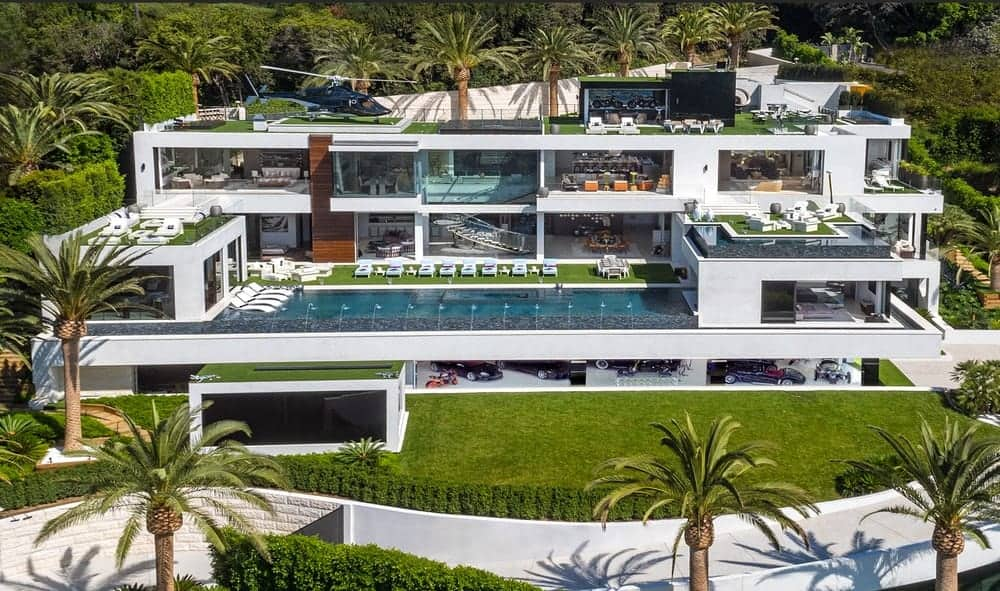 Outdoor view of the luxurious Bel Air Giga mansion showcasing its exterior and outdoor amenities.