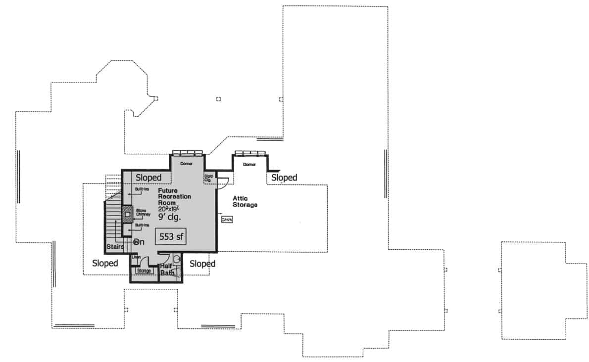 Bonus level floor plan with future recreation room, linen, storage, and a half bath.