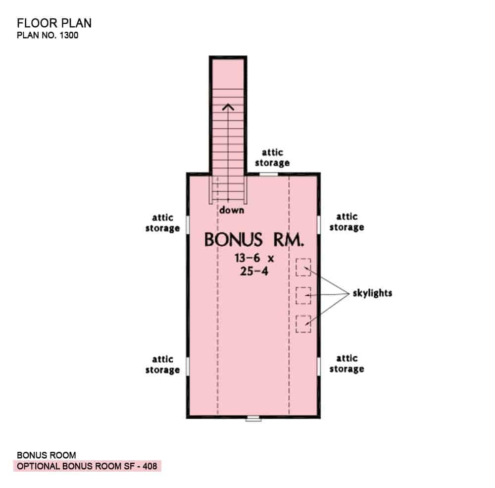 Bonus room floor plan with attic storage and skylights.