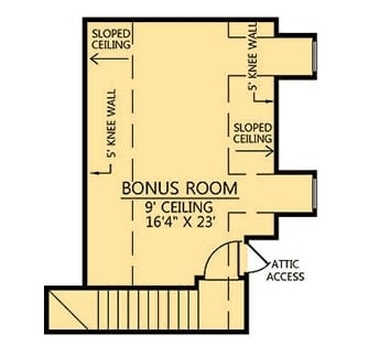 Bonus room floor plan with sloped ceiling and attic access.