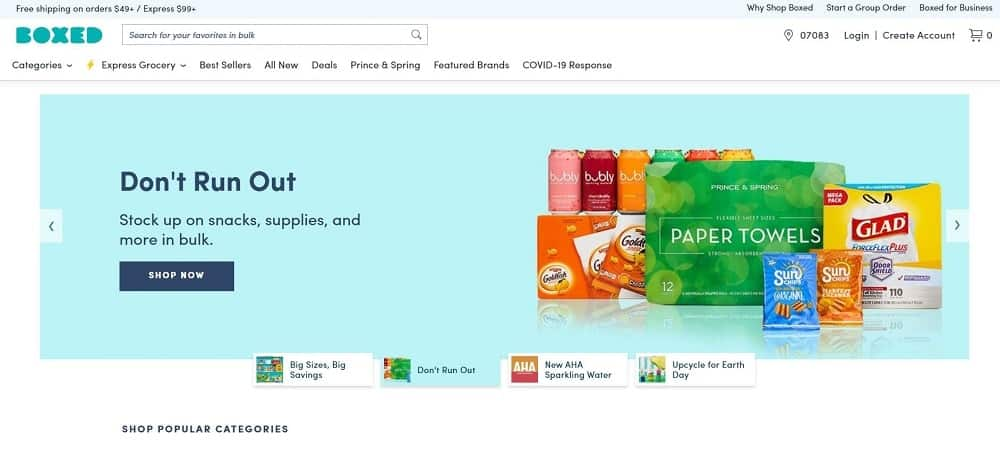 Screenshot of the Boxed Online Store homepage.