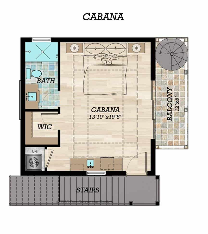 Cabana floor plan with a bedroom featuring its own bath, walk-in closet, and a private balcony.