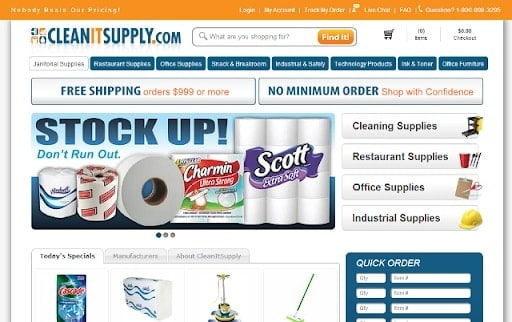 Screenshot of the CleanItSupply.com Online Store homepage.