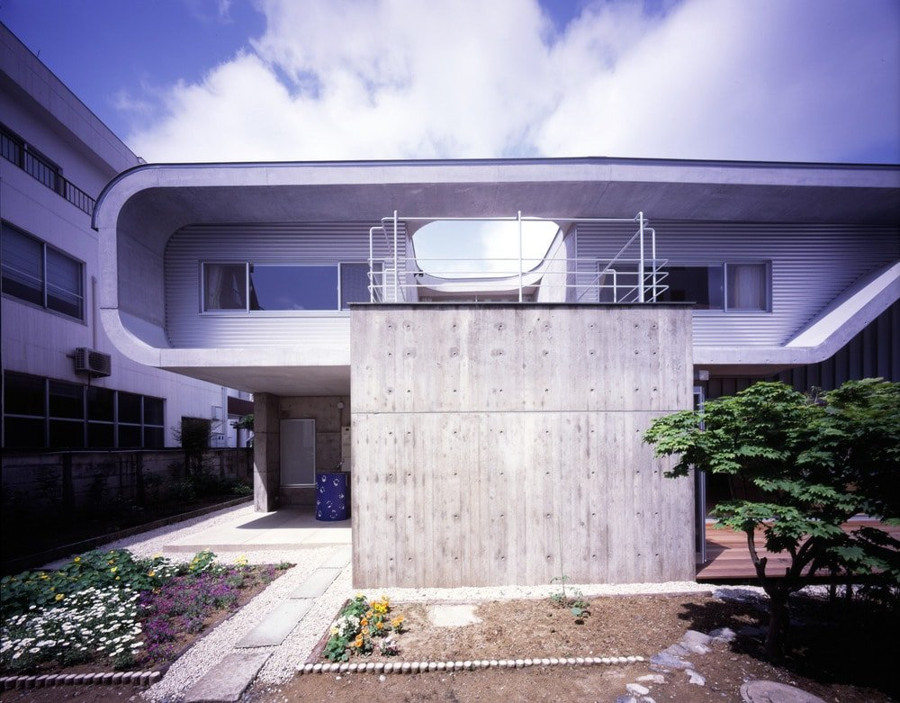 Exterior view of the house showcasing its contemporary architecture style.