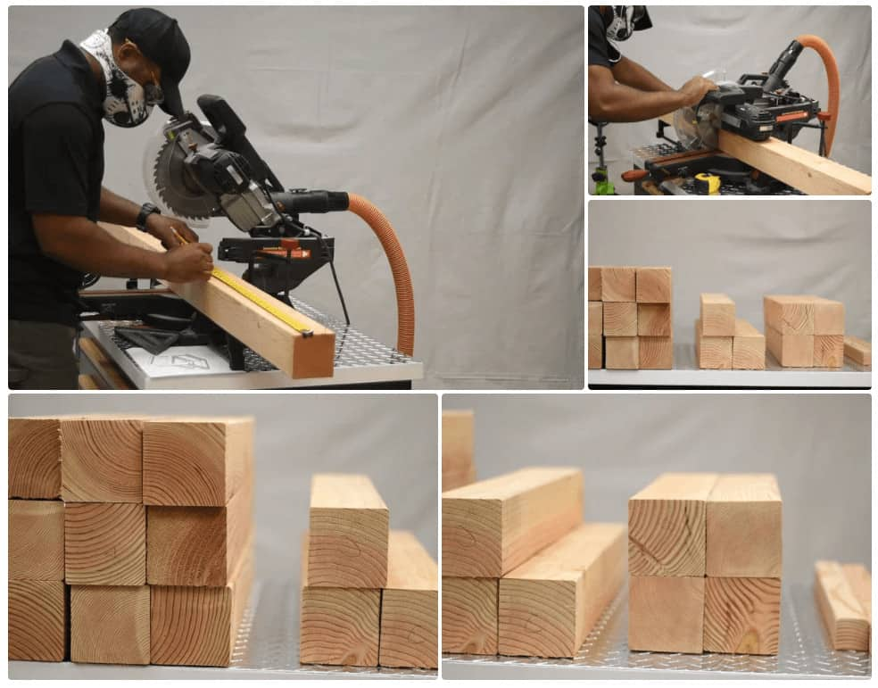 Cutting the wood for the chair