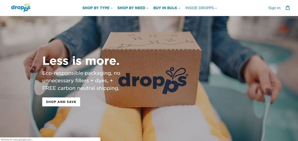 Screenshot of the Dropps Online Store homepage.