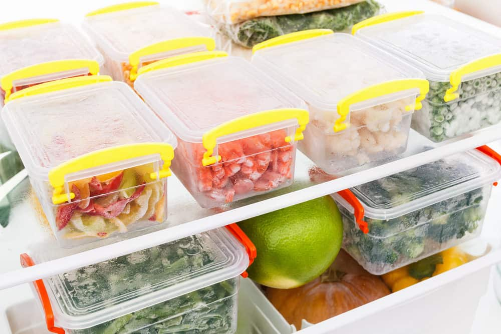 Food stored in refrigerator containers