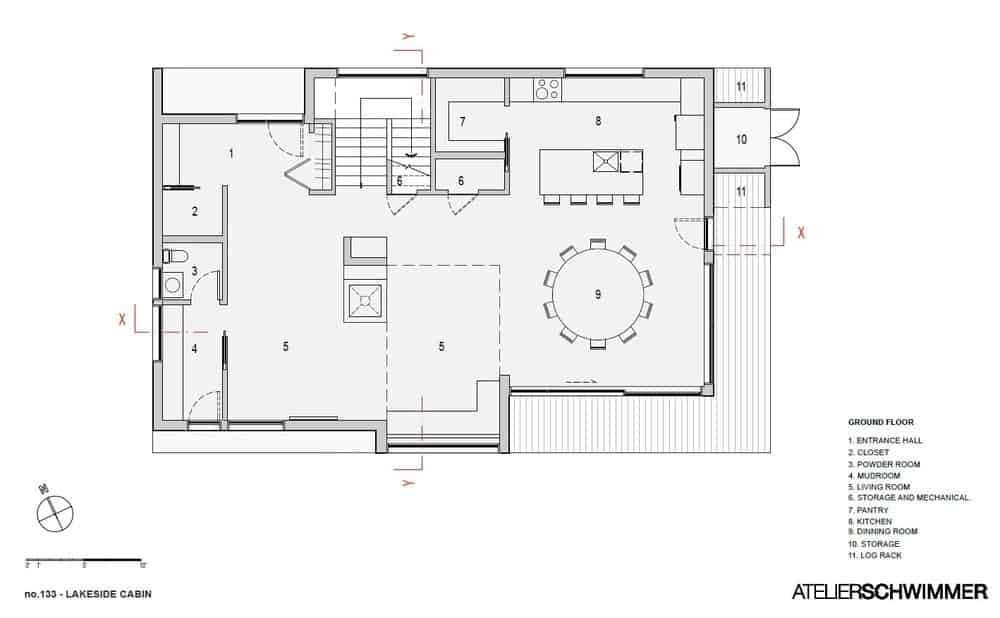 Ground floor layout of the Lakeside Cabin.
