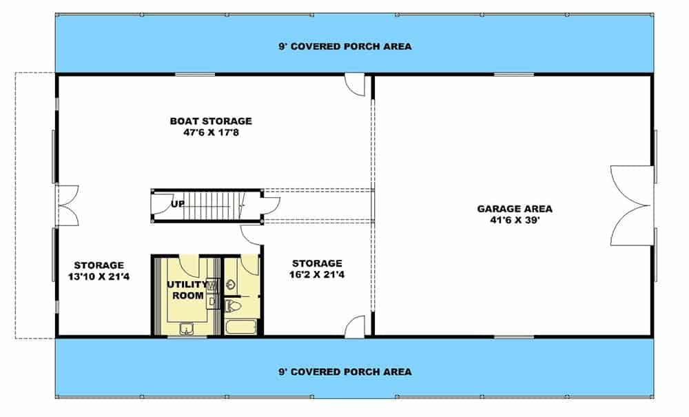 Ground level floor plan with a spacious garage, utility room and lots of storage space including room for a boat.