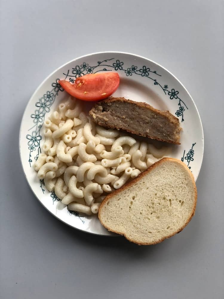 Sample of a hospital cafeteria food.