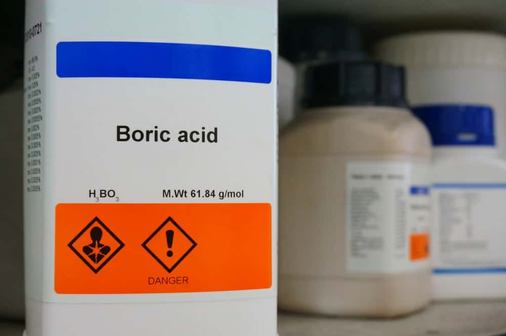 Close-up view of a bottle of Boric acid.