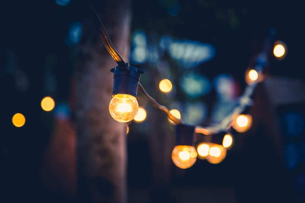 Outdoor rope lights with warm yellow lights.
