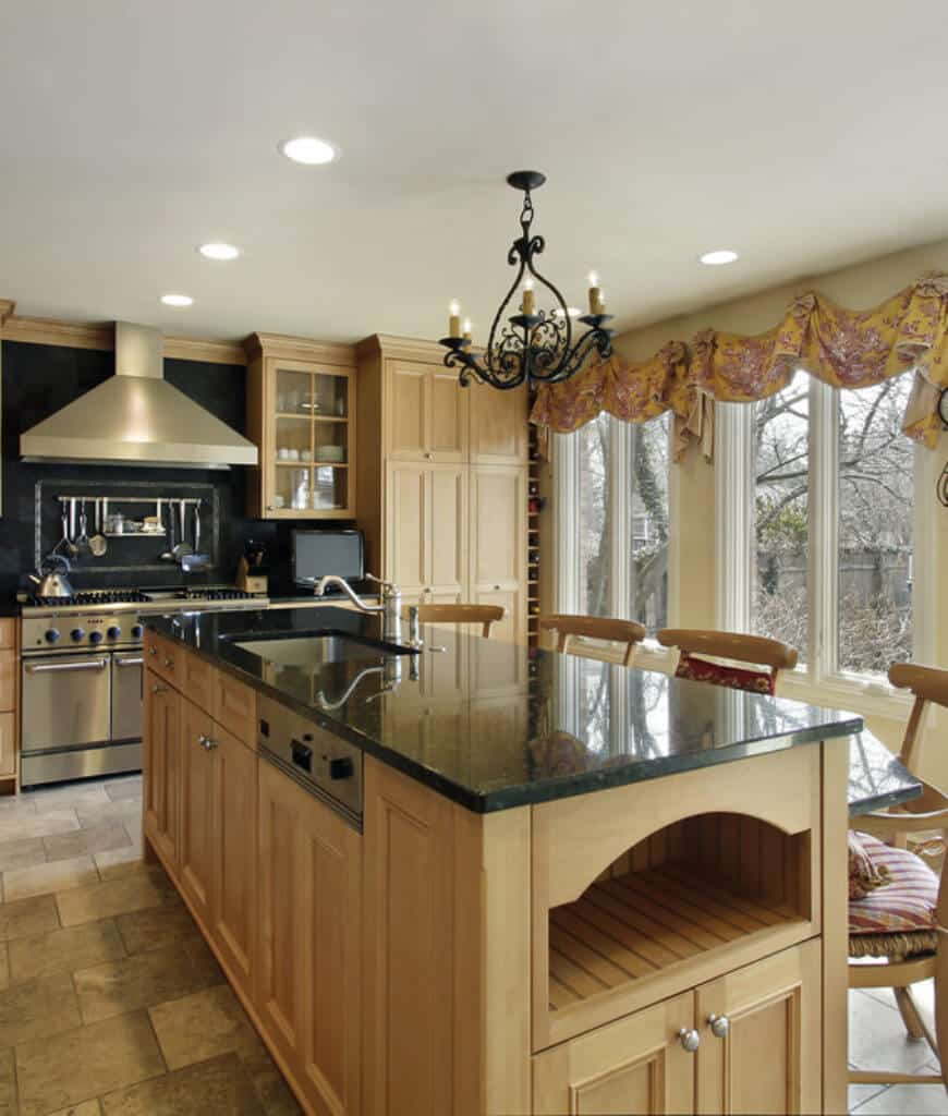50 Kitchens With Black Granite Countertop Surfaces Photos