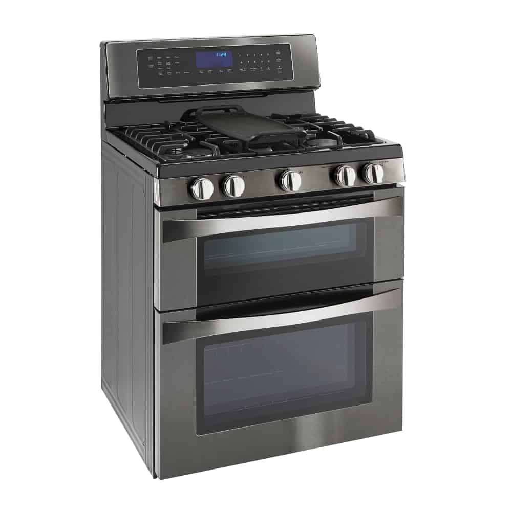 This is a modern double oven gas range with a dark matte texture.