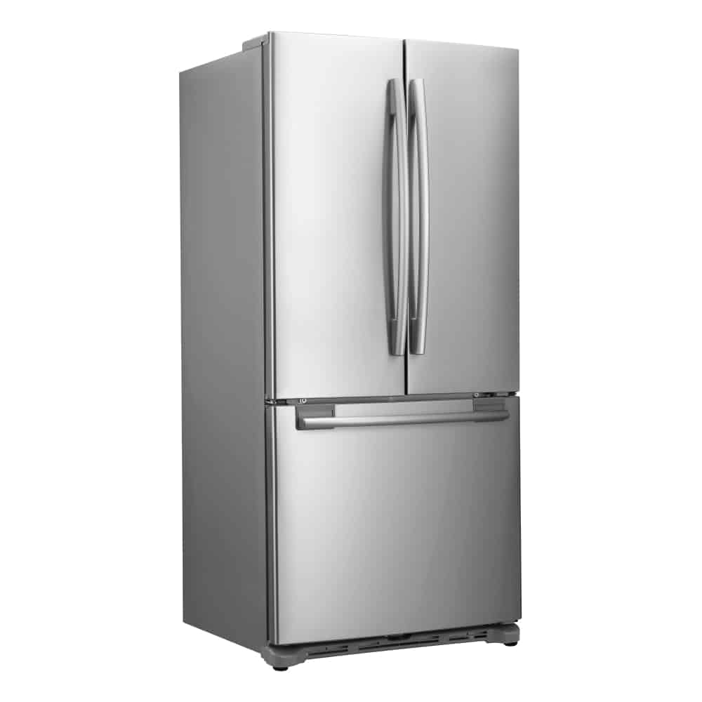 This is a gorgeous three-door fridge with a bottom freezer section.