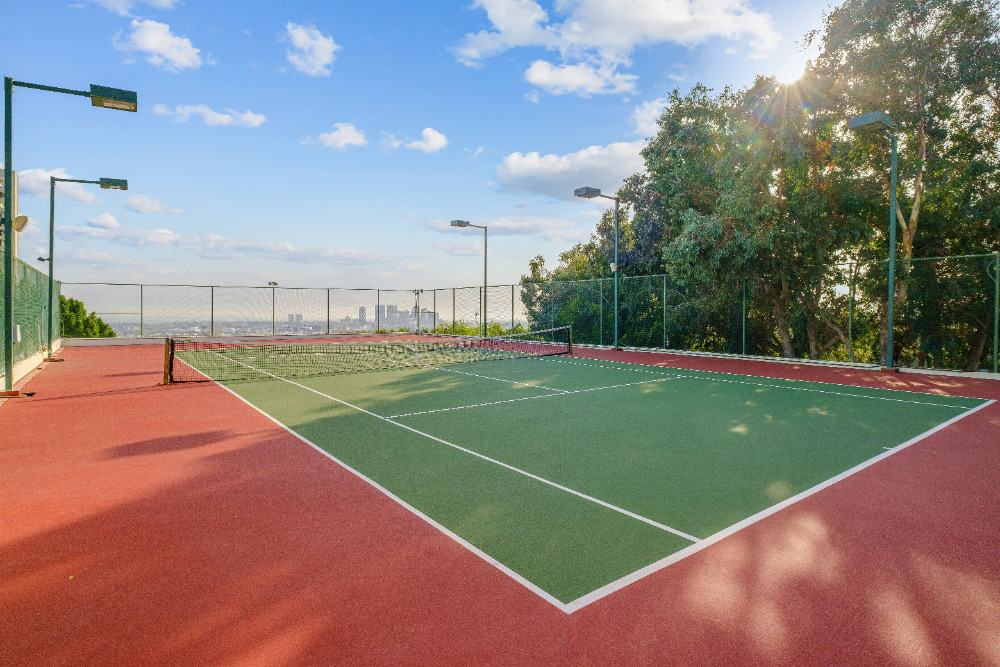 There's a wide tennis court too. There are tall and mature trees on the side providing shade to the court. Images courtesy of Toptenrealestatedeals.com.