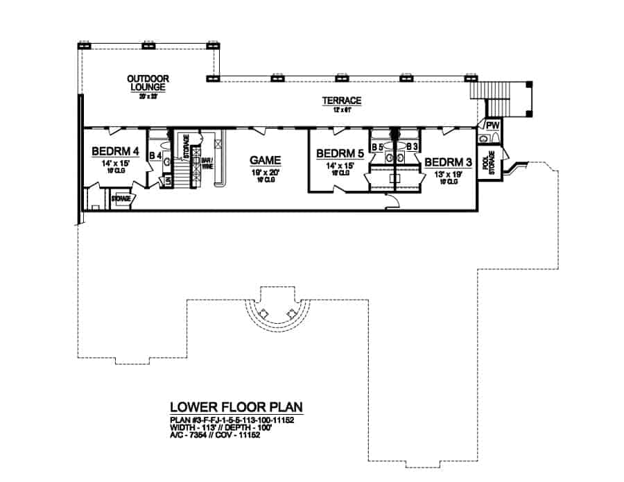 Lower level floor plan with three additional bedrooms, and a game room with a wet bar. All rooms have access to the outdoor lounge and terrace.