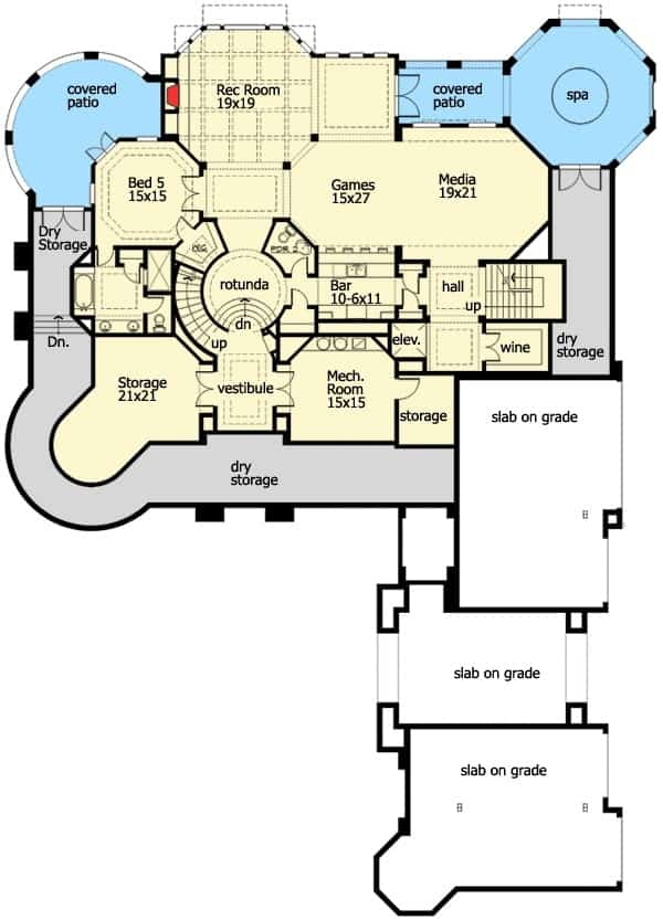 Lower level floor plan with storage rooms, media room, game room with wet bar, rec room, and another bedroom with access to the covered patio.