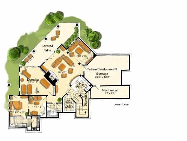 Lower level floor plan with exercise room, wine cellar, bar, mechanical room, and an in-law suite complete with sitting area, kitchen, full bath, and a walk-in closet.