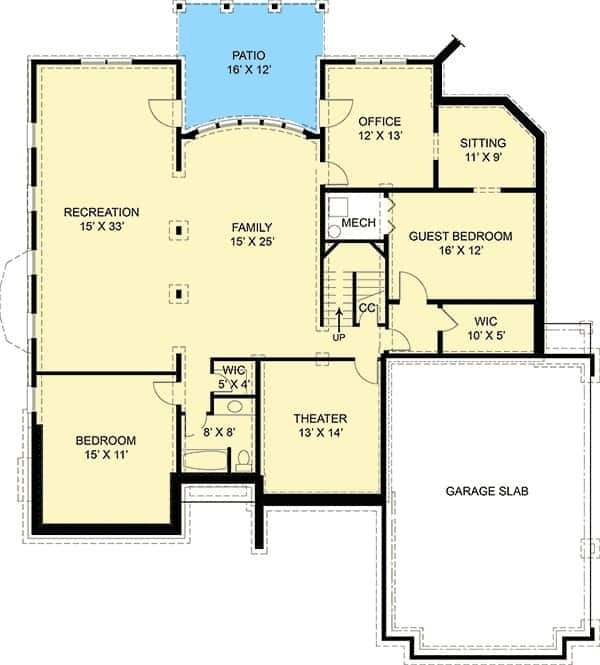 Lower level floor plan with two more bedrooms, recreation room, office, home theater, and a guest bedroom with a sitting area.