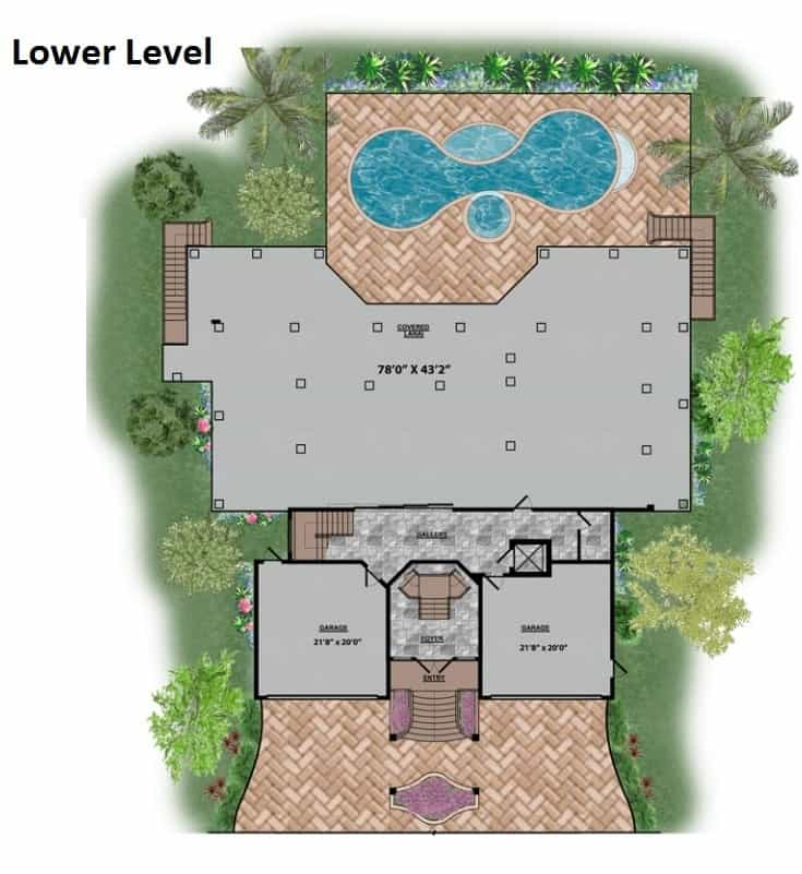 Lower level floor plan with two spacious garages flanking the foyer.