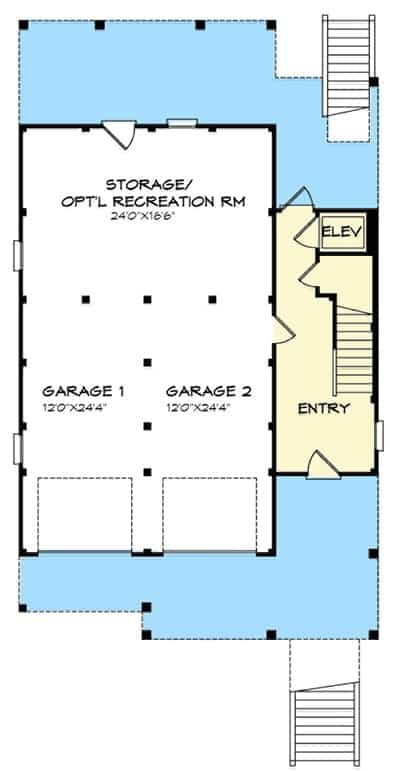 Lower level floor plan with 2-car garage and storage or optional recreation room.