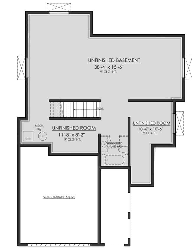Lower level floor plan with unfinished basement and two unfinished rooms separated by unfinished future bath.