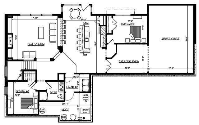 Lower level floor plan with two additional bedrooms, another family room, exercise room, and an amazing sport court.
