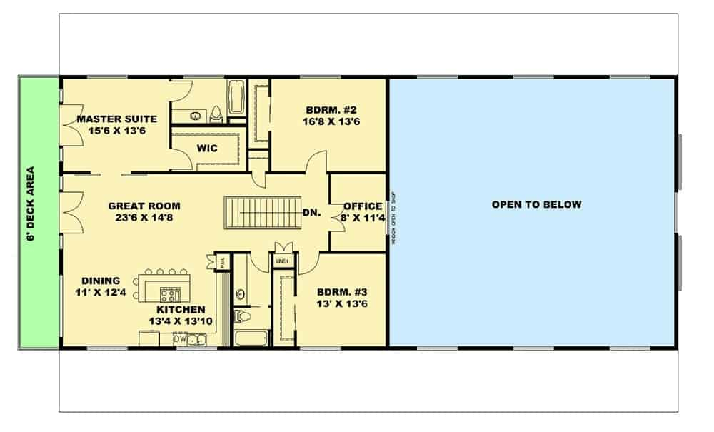 Main level floor plan with great room, shared dining area and kitchen, office, and three bedrooms including the primary suite that has private access to the deck.