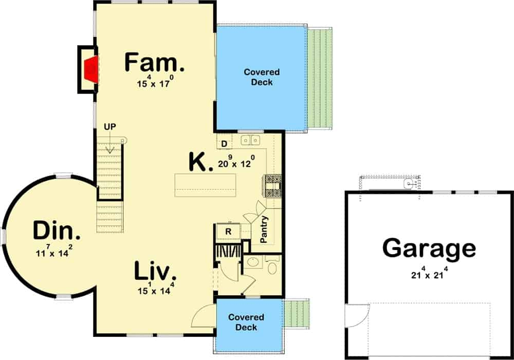 Main level floor plan of a 3-bedroom two-story coastal living home with covered decks, living room, kitchen with a walk-in pantry, family room with a fireplace and a formal dining room situated at the base of the lookout tower.