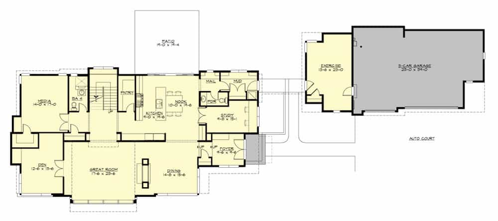 Main level floor plan of a 3-bedroom two-story Lovett home with study, spacious kitchen with nook and pantry, formal dining room, great room, den, media room, and a secluded exercise room attached to the 3-car garage.