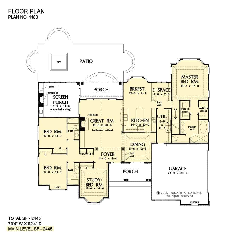 Main level floor plan of a 4-bedroom single-story The Carinthian home with a screened porch, great room, formal dining room, kitchen, breakfast nook, primary suite, two bedrooms, and a study that doubles as another bedroom.