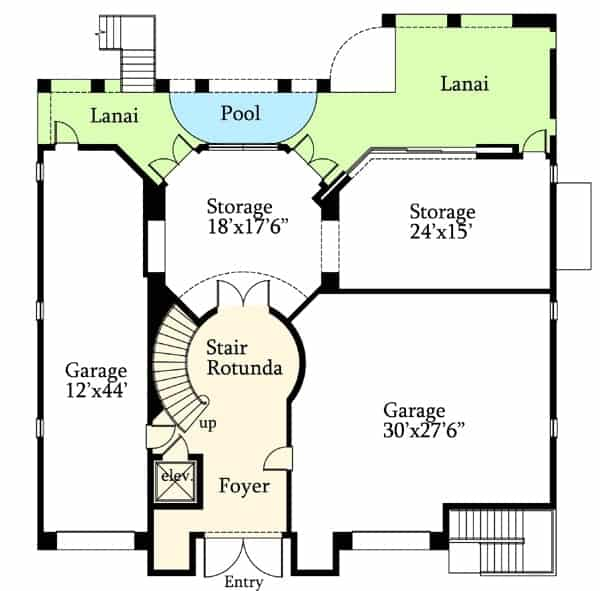 Main level floor plan of a 4-bedroom three-story Mediterranean home with foyer, storage rooms, stair rotunda, and lanai with a pool.