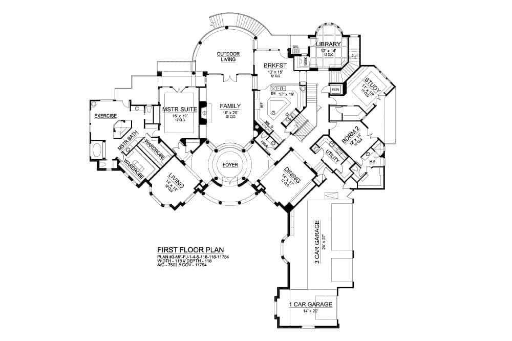 Main level floor plan of a 4-bedroom three-story Rodeo home with a family room. formal dining room, study, coffered library, and two bedrooms including the primary suite with spacious wardrobes, a luxury bath, and an exercise area.