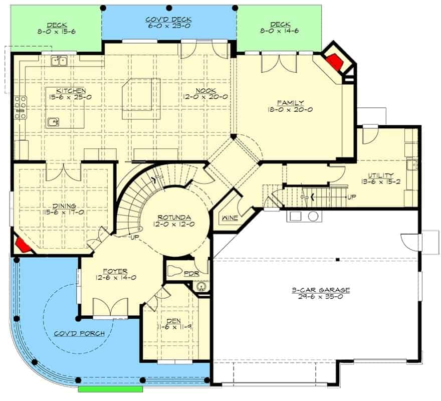 Main level floor plan of a 4-bedroom two-story cape cod home with an open kitchen and family room, a large formal dining room, wine cellar, covered porch, and rear decks.