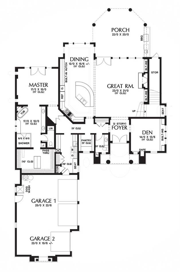 Main level floor plan of a 4-bedroom two-story Putnam house with a towering foyer, den, dining room, kitchen with pantry, primary suite, and a great room with direct access to the rear porch.