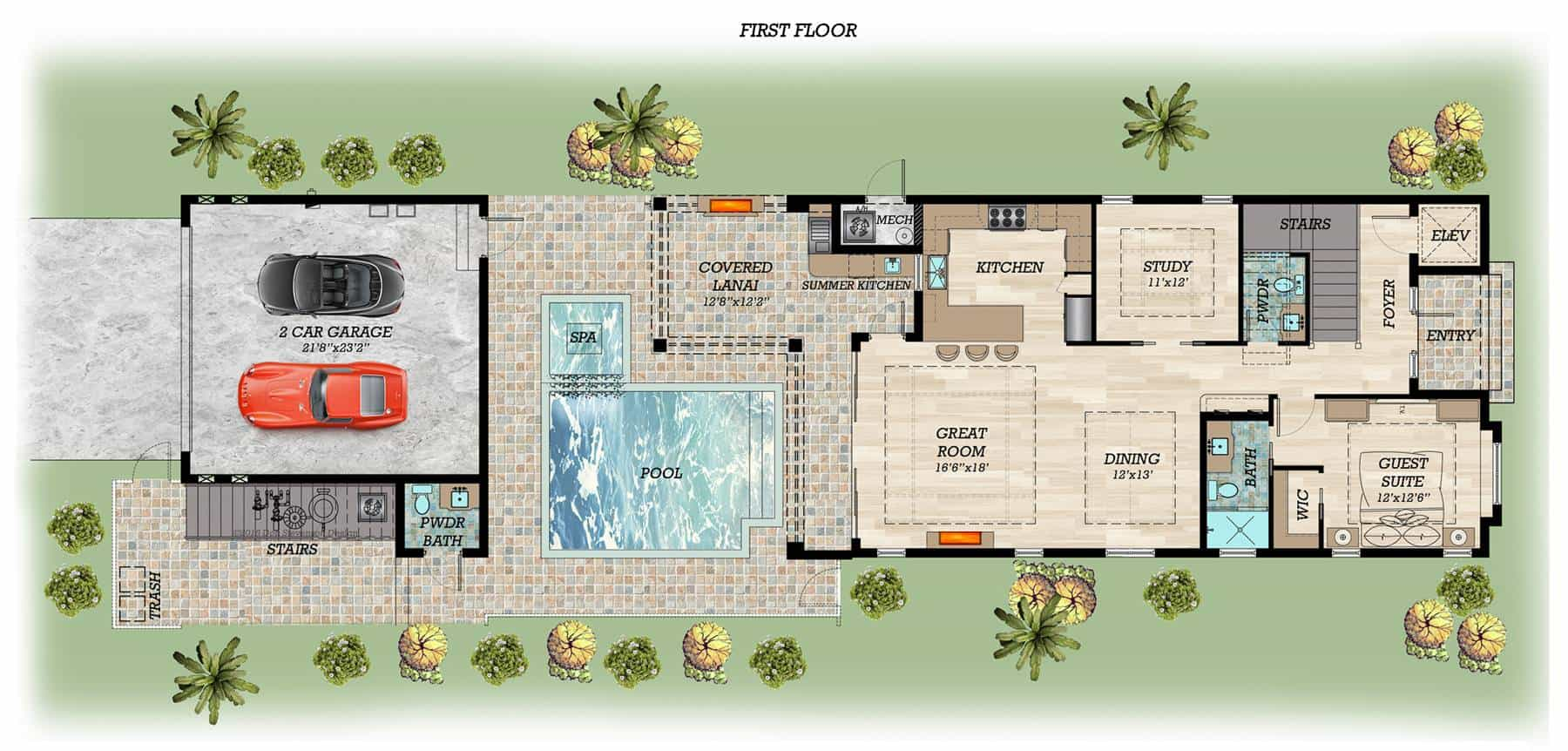 Main level floor plan of a 4-bedroom two-story Sea Scape beach style home with a guest suite, a study, kitchen, shared dining and great room, summer kitchen, and a separate 2-car garage after the pool with a powder room.