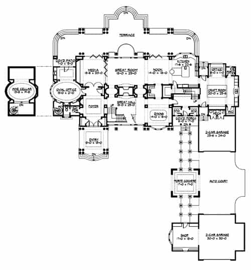 Main level floor plan of a 4-bedroom two-story The Retreat at Waters Edge with a great room, media room, kitchen with breakfast nook, formal dining room, oval office, wine cellar, craft room, and an expansive terrace at the back.