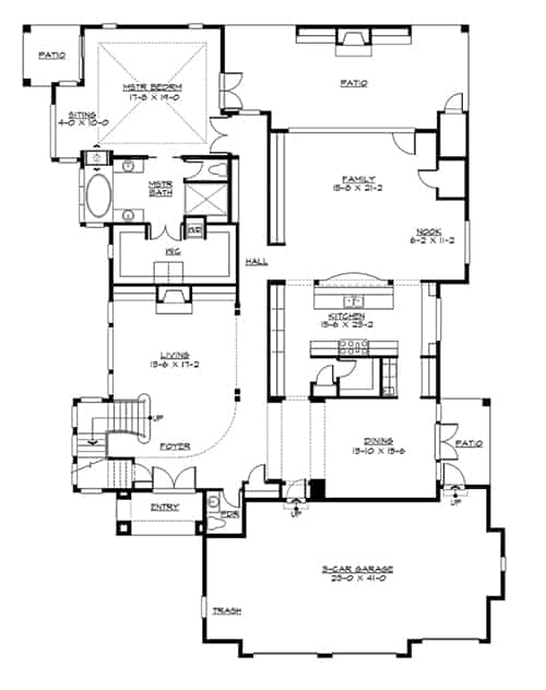 Main level floor plan of a 4-bedroom two-story Willowcrest home with living room, primary suite, formal dining room, kitchen, and a family room with direct access to the rear patio.